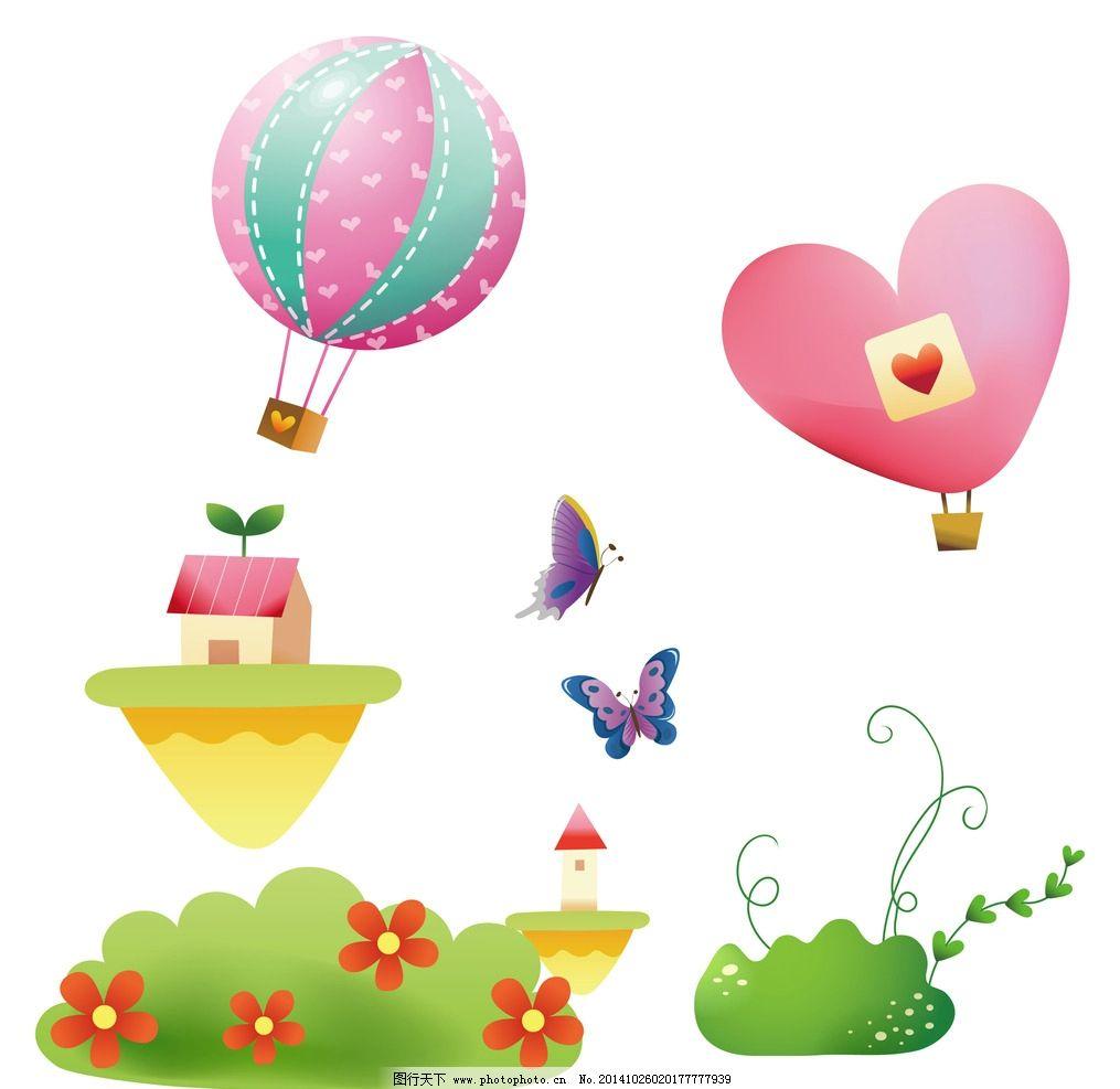 热气球 蝴蝶 花卉植物 花草 手绘 春天素材 绿色植物 绿色装饰素材