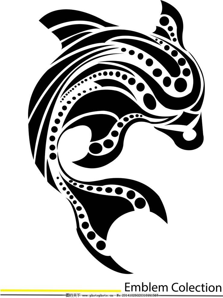 纹身 手绘 海豚 纹样 花边 纹身图案 设计 eps  设计 底纹边框 花边