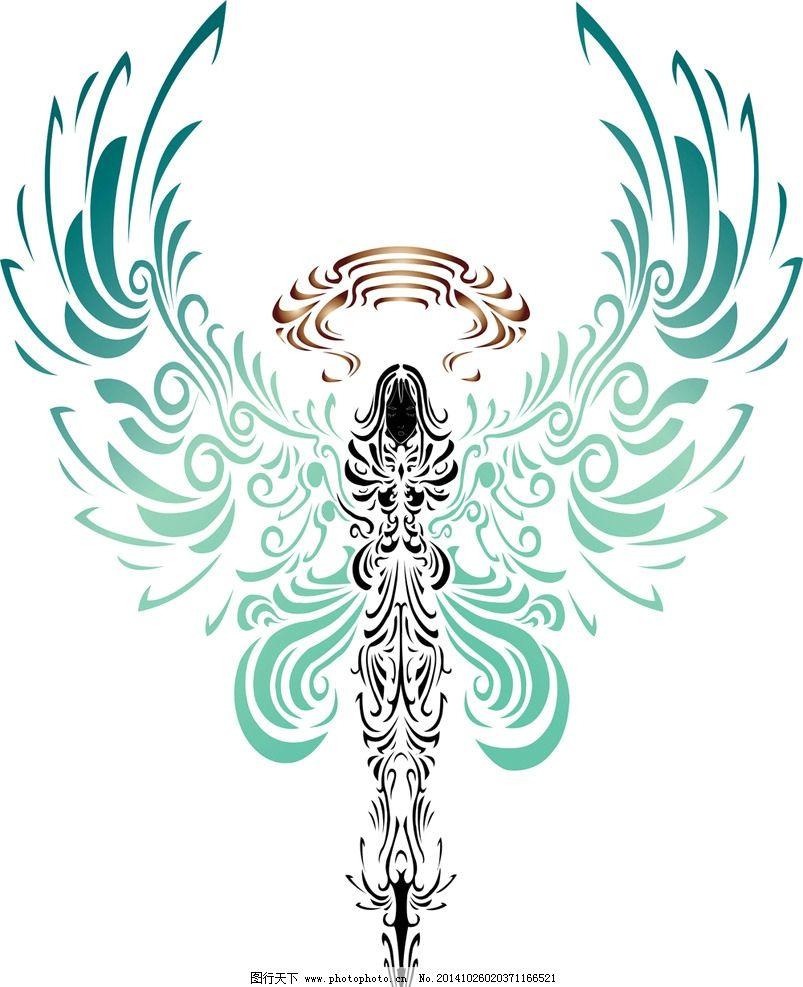 图案手绘图腾花边翅膀花纹纹身纹身天使纹样设计eps设计造型设计榆树图片