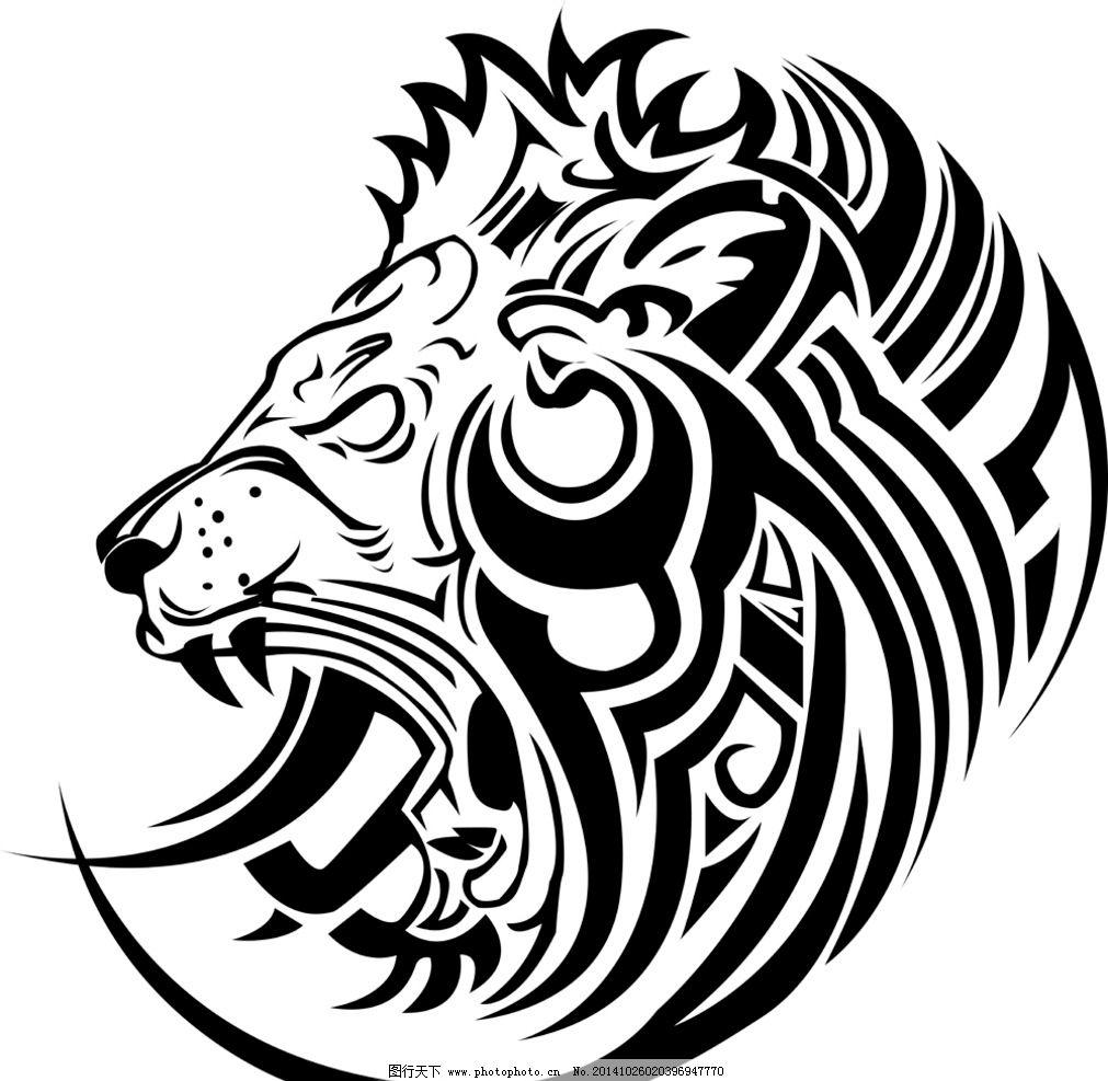 纹身 手绘 图腾 狮子 花纹 纹样 花边 纹身图案 设计 eps 设计 底纹