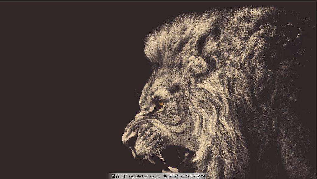狮子 凶猛 雄狮 猛兽 狮子王 野兽 森林之王 ai 水墨 中国风 水墨油画图片