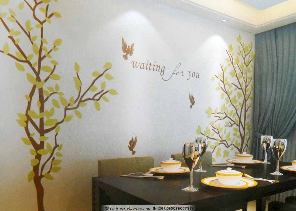餐厅树背景墙 树枝 矢量 墙贴 鸟 英文 背景墙花纹 设计 环境设计