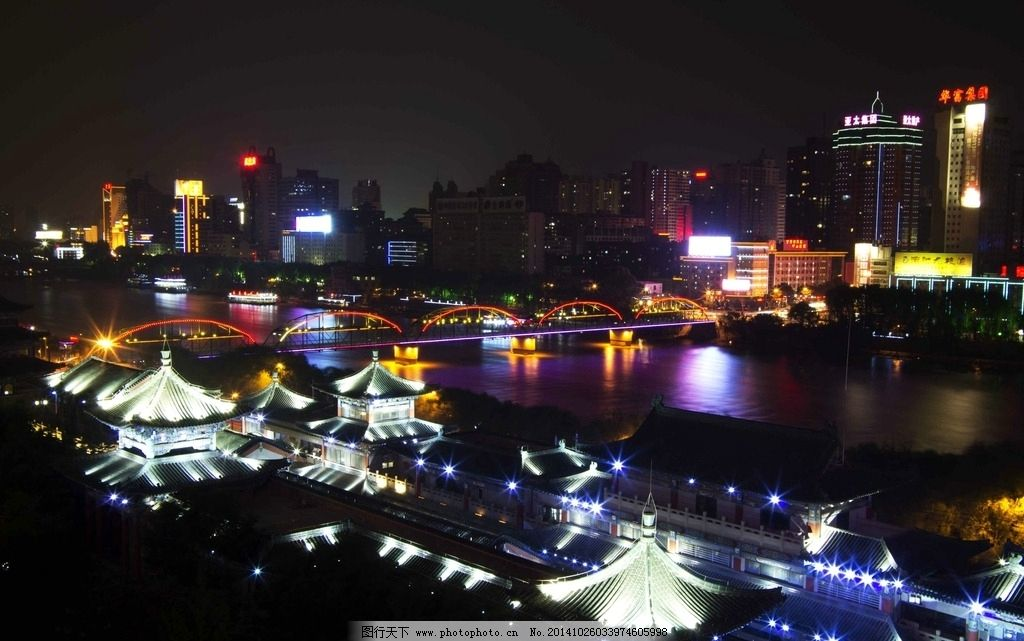黄河兰州夜色 城市 都市 夜景 夜晚 晚上 阁楼 夜市 亭子 高楼大厦