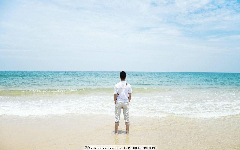 男人背影意境 海边
