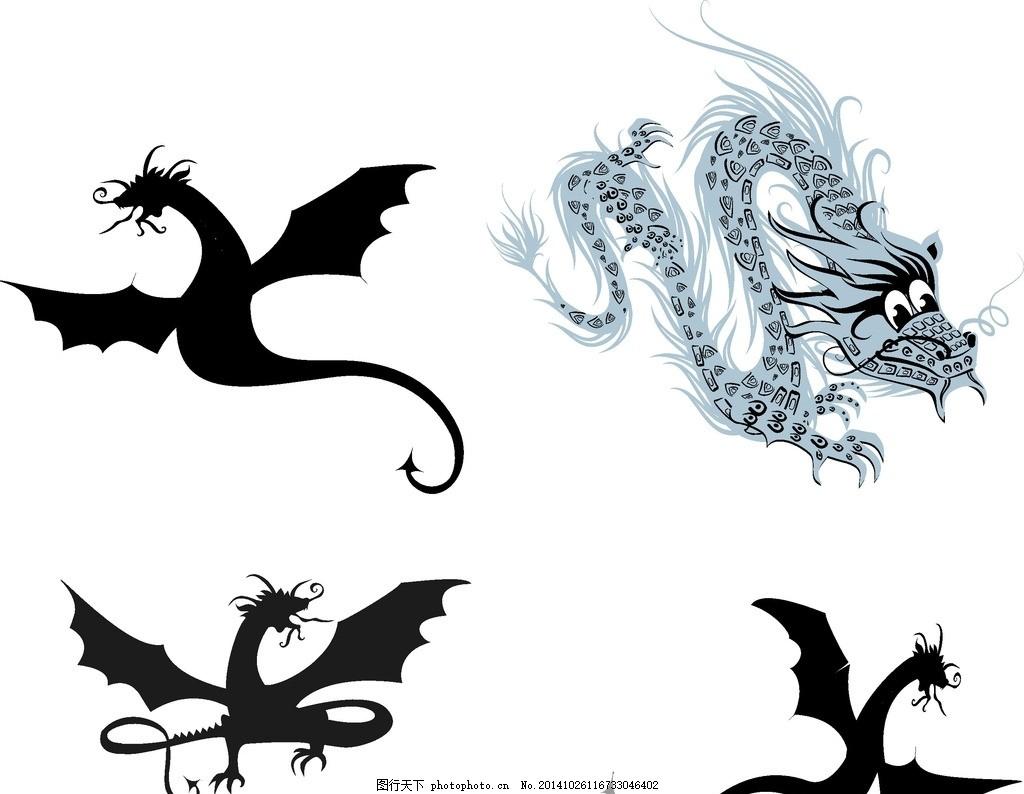 矢量 龙 素材 动物 矢量龙 纹身图案 印花图案 动物世界 潮流纹身
