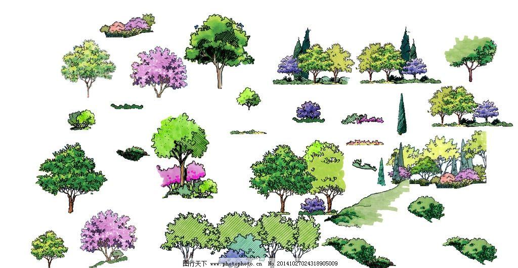 edsa手绘立面植物素材图片