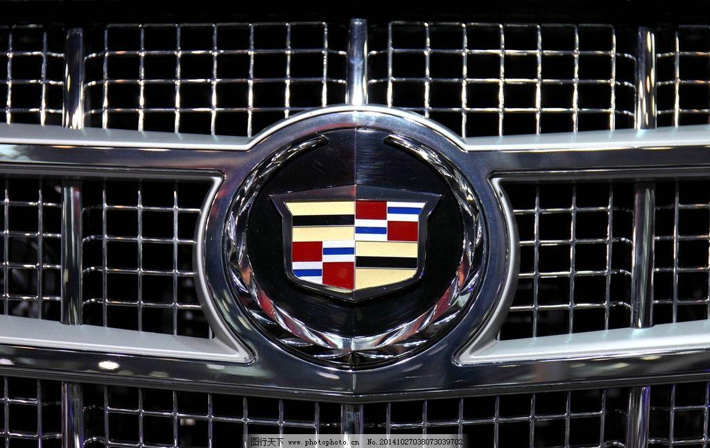 凯迪拉克车标 轿车 标志 车头 局部 特写 汽车 交通 摄影 现代科技