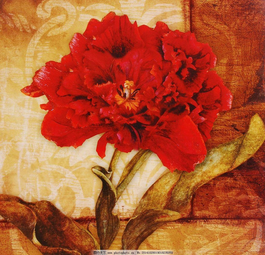 手绘欧式花卉背景油画图片