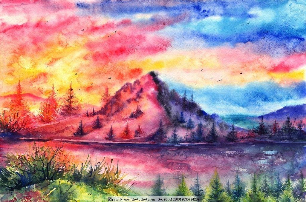 水彩画 淡彩 风景 风景画 名家水彩画 水彩画艺术 彩色 五颜六色
