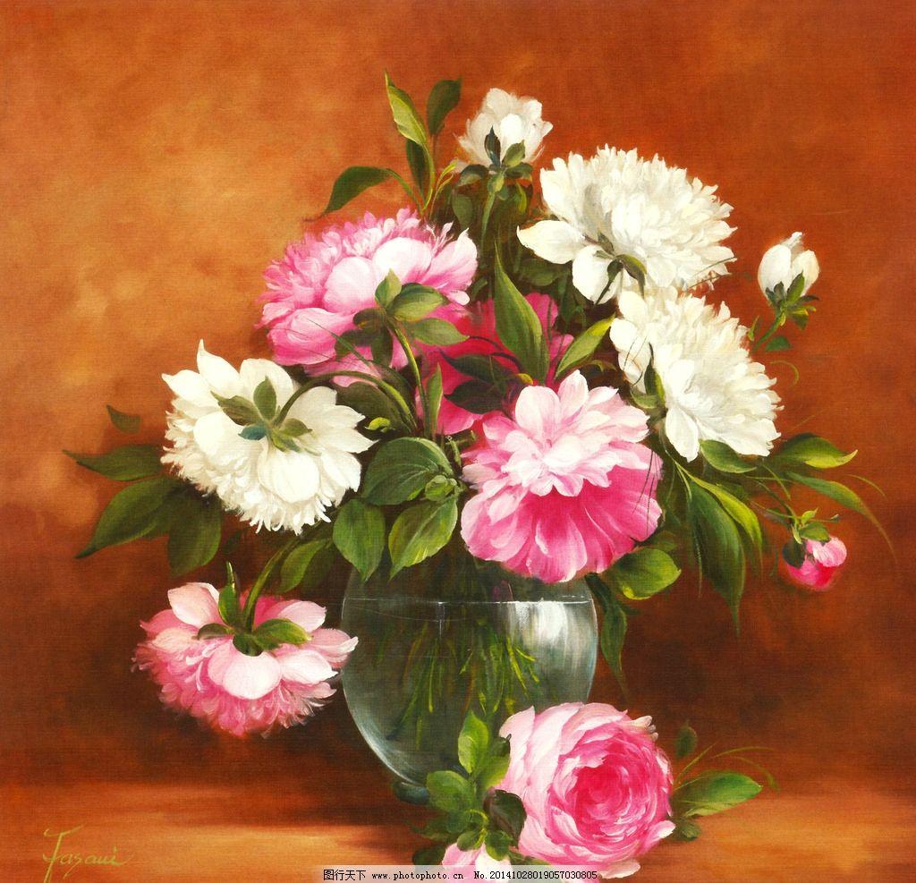 手绘欧式花卉花瓶油画图片