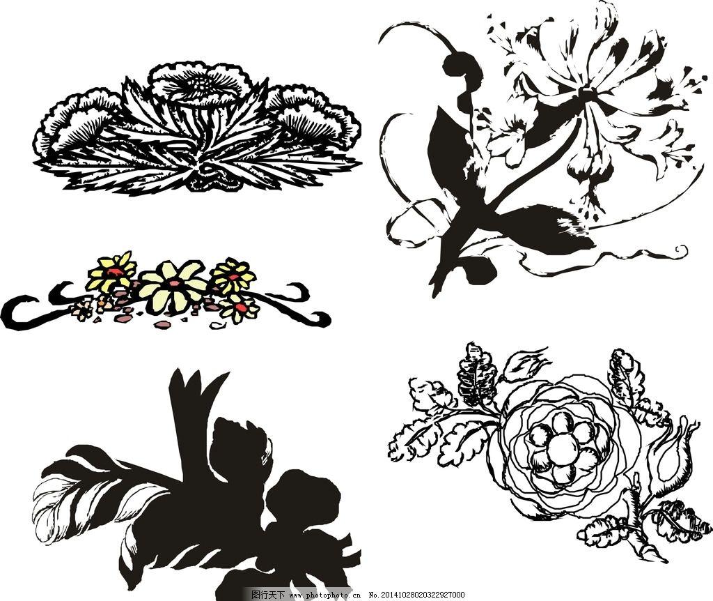 黑白矢量花朵图片