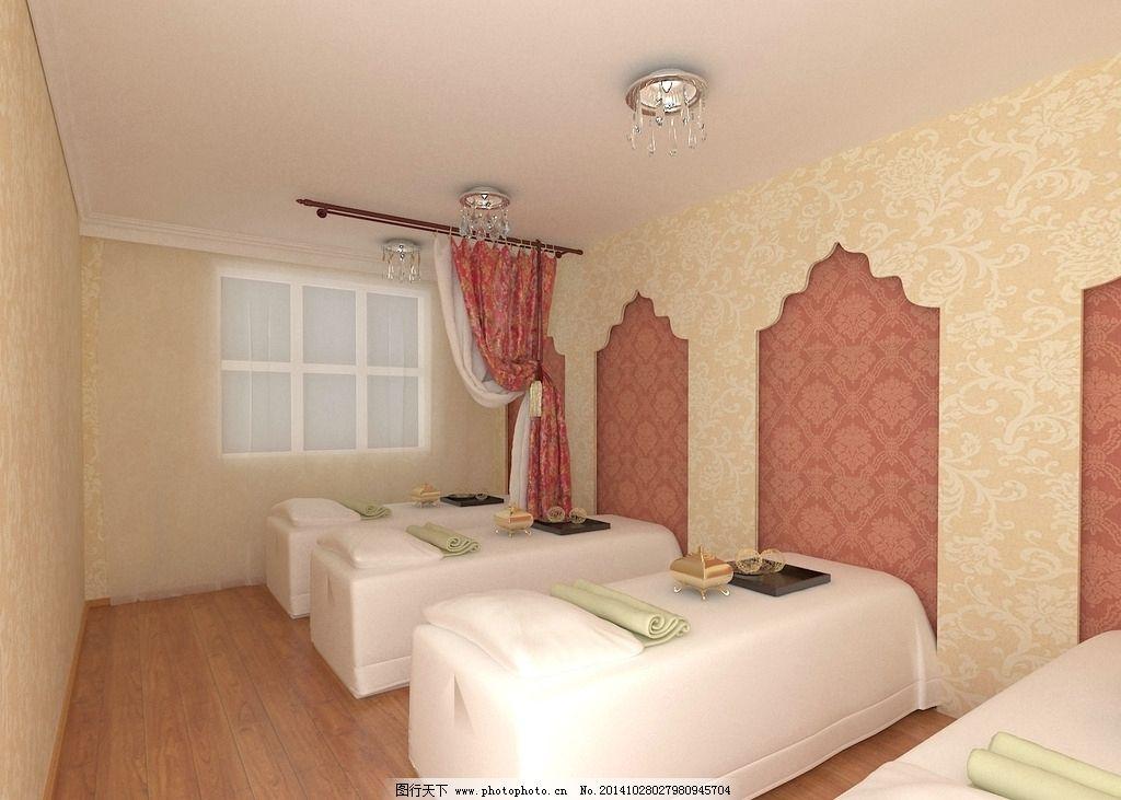 美容院 造型墙 浅黄色 罗马欧式 美容床        设计 环境设计 室内