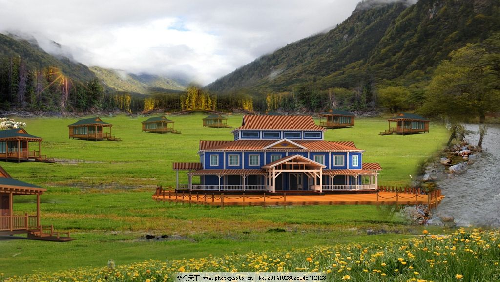 酒店 会所 别墅 草原 大山 风景 自然景观 设计 环境设计 建筑设计