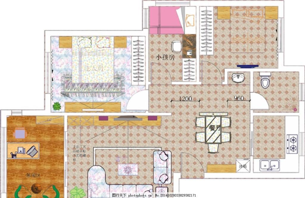 家装平面图 彩色 家具 装修 床 沙发 椅子 矢量图 作品 图片素材