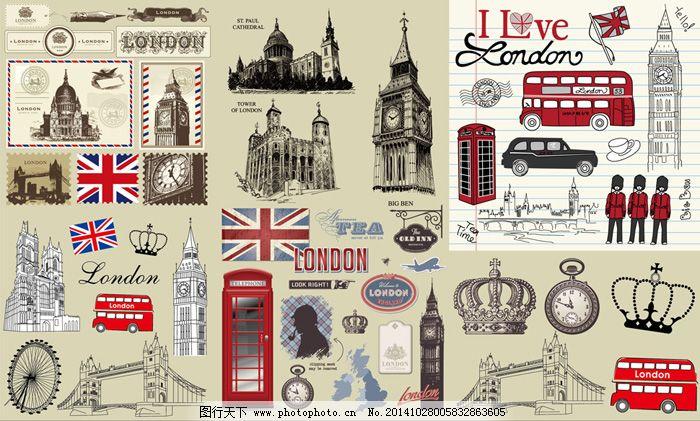 电话亭 皇冠 建筑 伦敦 矢量图 士兵 手绘 艺术字 邮票 伦敦 建筑