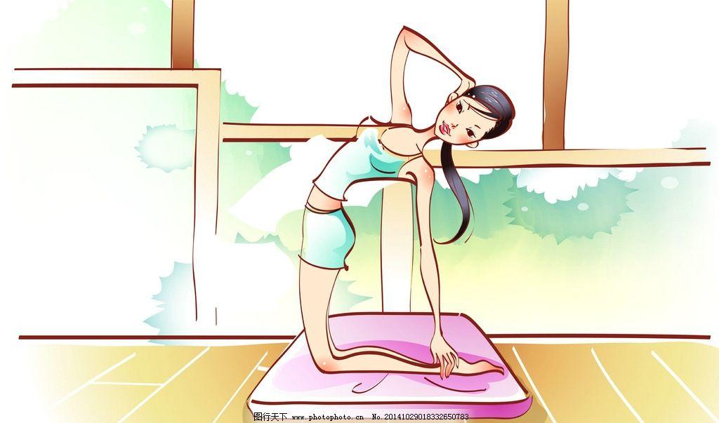 瑜伽运动卡通女孩壁纸图片