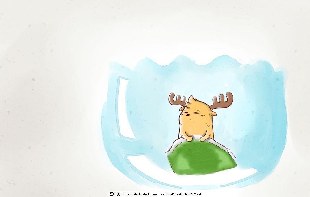 鹿小漫手绘插画杯中小鹿