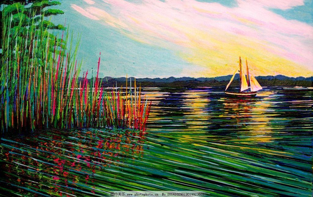 欧式海景帆船立体油画图片