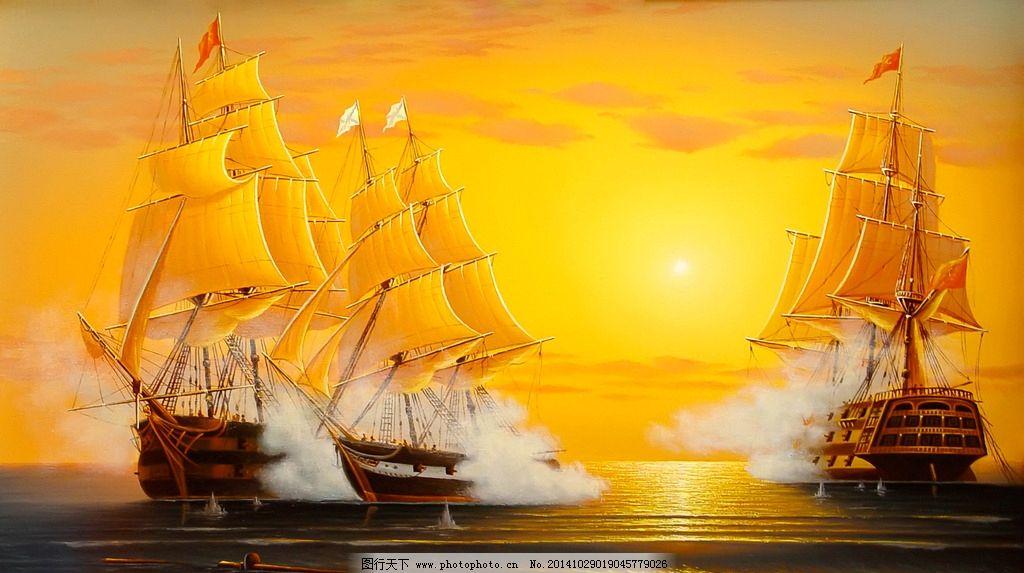 欧式海景帆船油画图片