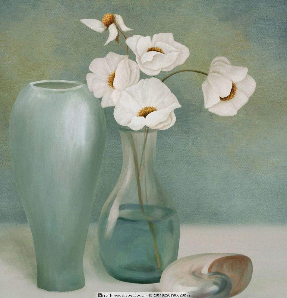 欧式花卉花瓶静物油画图片