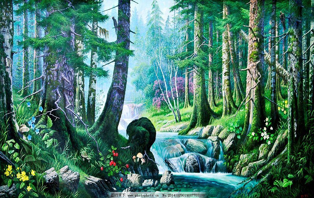 油画风景树木 室内装饰画 欧式现代油画 油画图片 壁画墙纸 油画壁纸