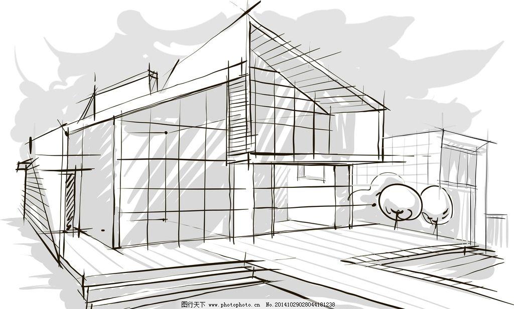 手绘建筑 欧洲建筑 素描 简笔