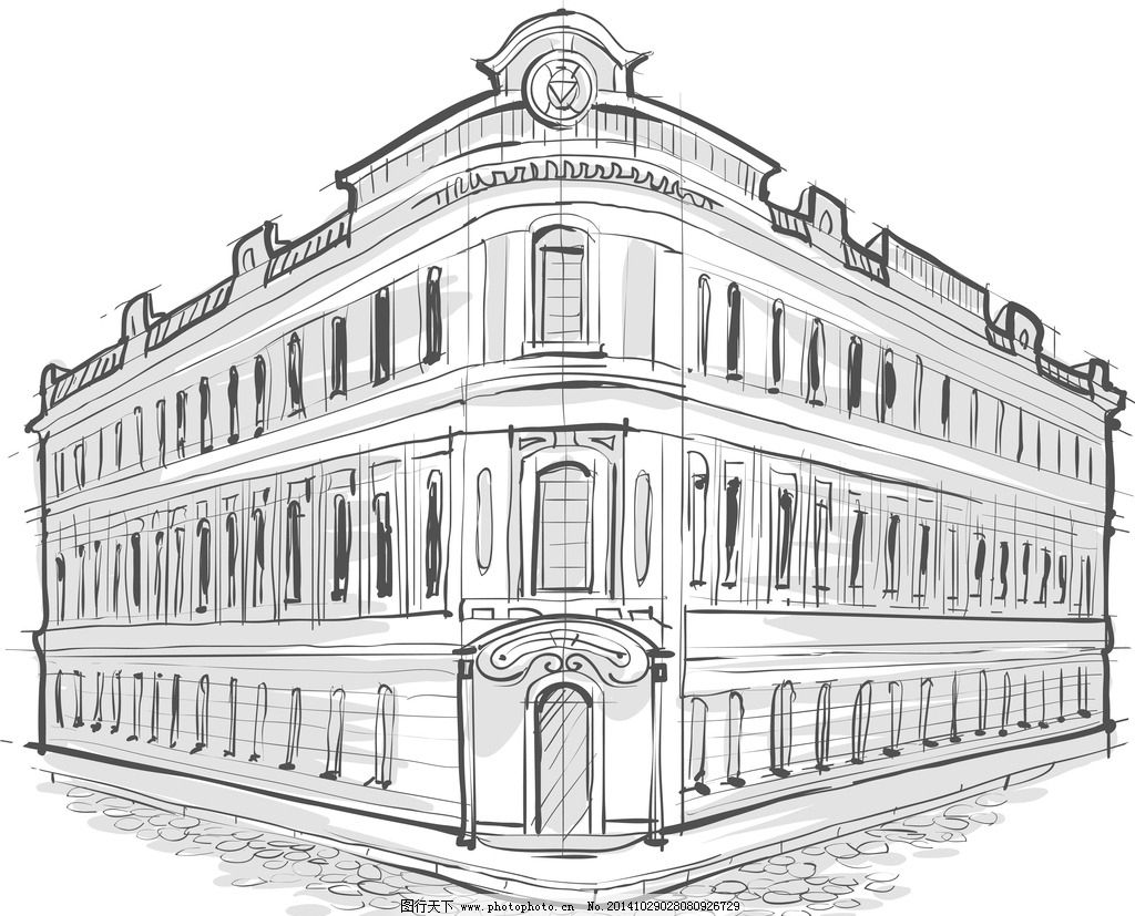 手绘建筑 素描 楼房 简笔画插画