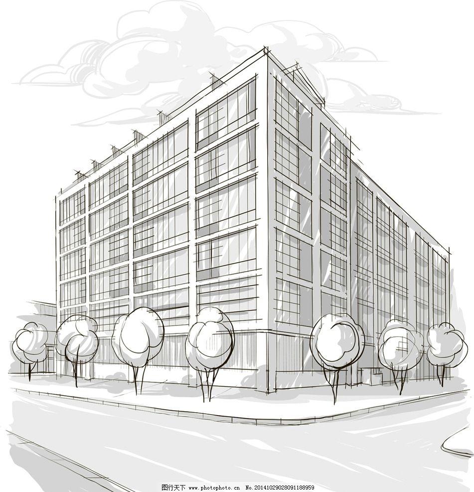 手绘建筑 欧洲建筑 素描 简笔画插画 线描 建筑园林 建筑设计矢量