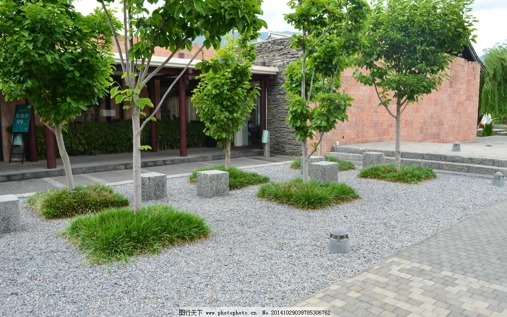 景观 设计 铺装 乔木 碎石 摄影 建筑园林 其他 300dpi jpg