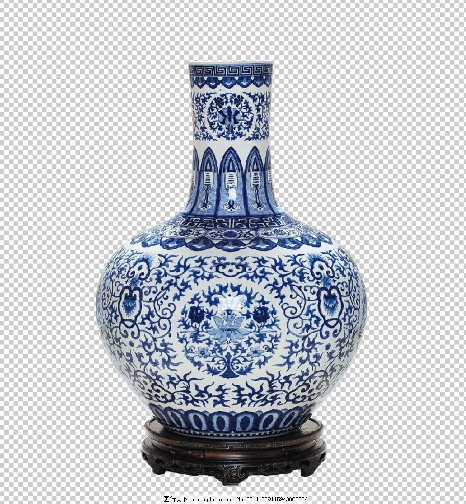 青花瓷瓶 瓶拖 花瓶 青花纹路 直口青花瓷瓶 中式元素
