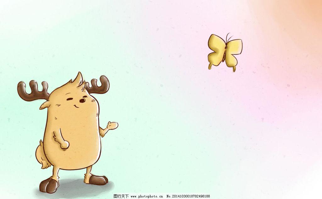 鹿小漫手绘壁纸蝴蝶小鹿 鹿小漫手绘壁纸蝴蝶小鹿免费下载 可爱的