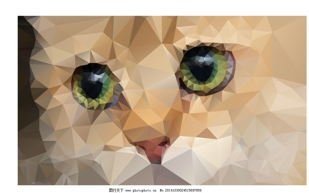 矢量小猫 猫 折纸 折纸动物 抽象猫  设计 生物世界 家禽家畜  eps