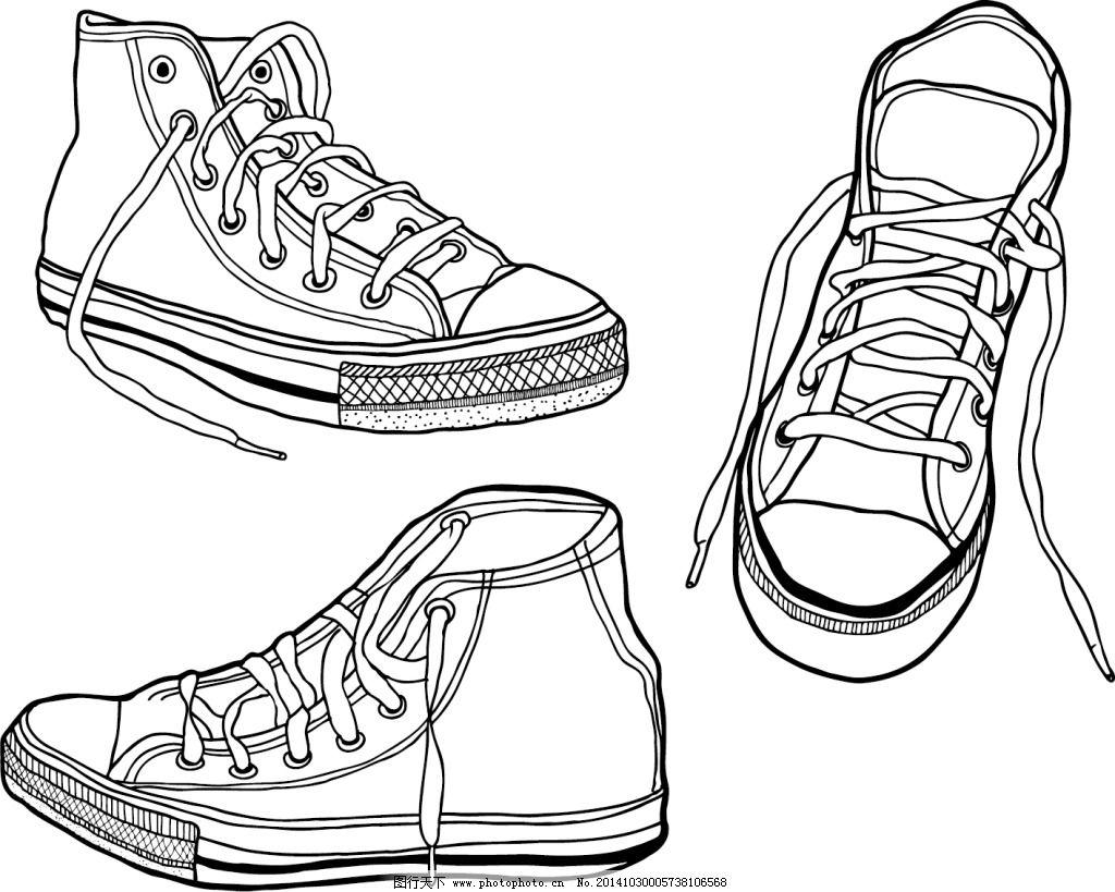 线条 鞋 鞋带 运动鞋 矢量 运动鞋 鞋 鞋带 胶底运动鞋 线条 黑白