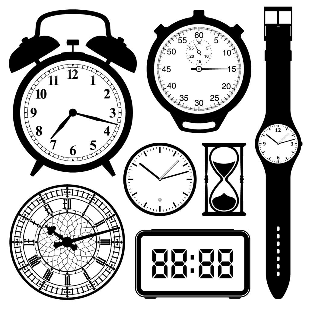 手绘黑白钟表矢量素材