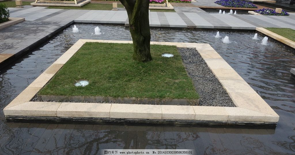 种植池 水中种植池 水景 景观设计 喷泉 灯具 摄影 建筑园林图片