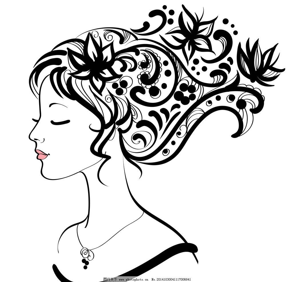 手绘女性头像图片_片头广告_flash动画_图行天下图库
