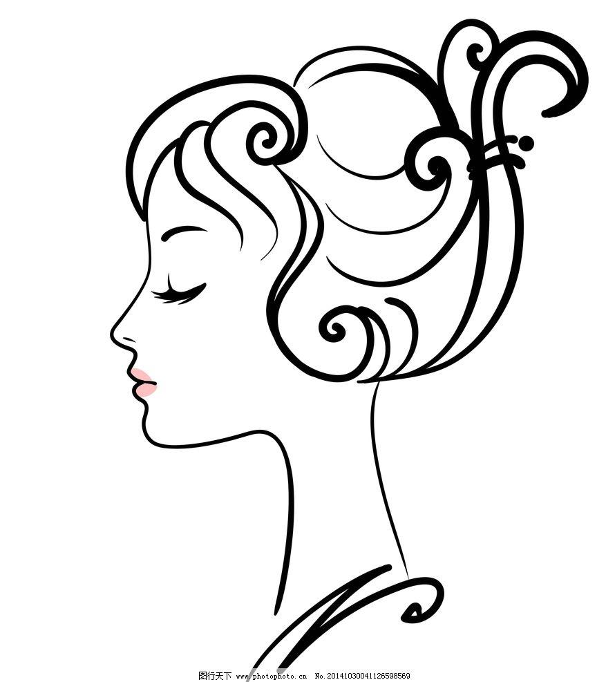 手绘女性头像图片