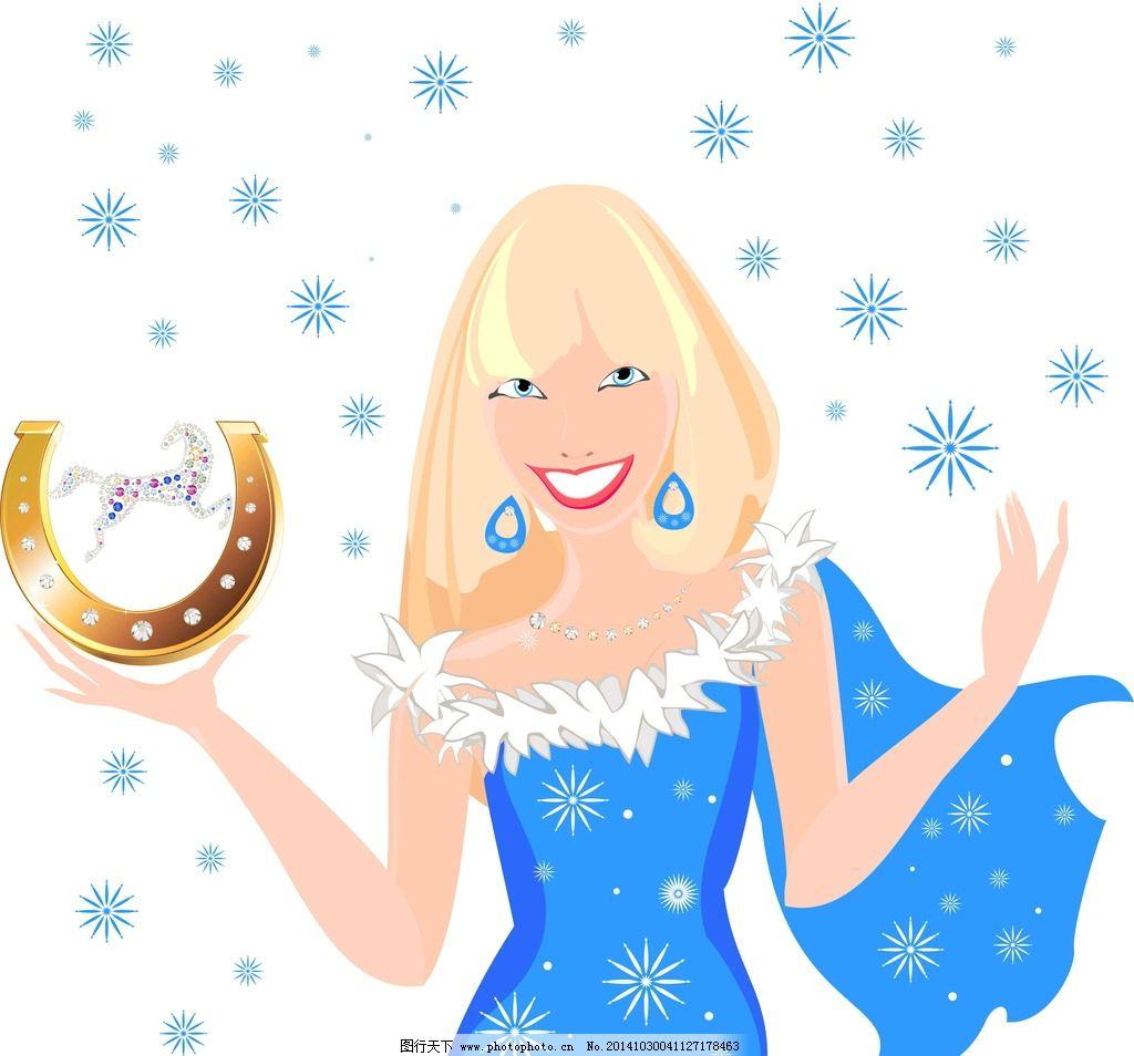 手绘少女 女孩 女人 雪花 时尚美女 圣诞节 新年 卡通女生 简笔画插图