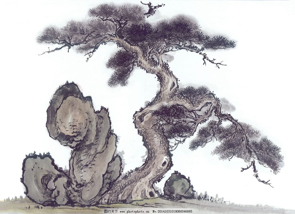 国画古树山石图片