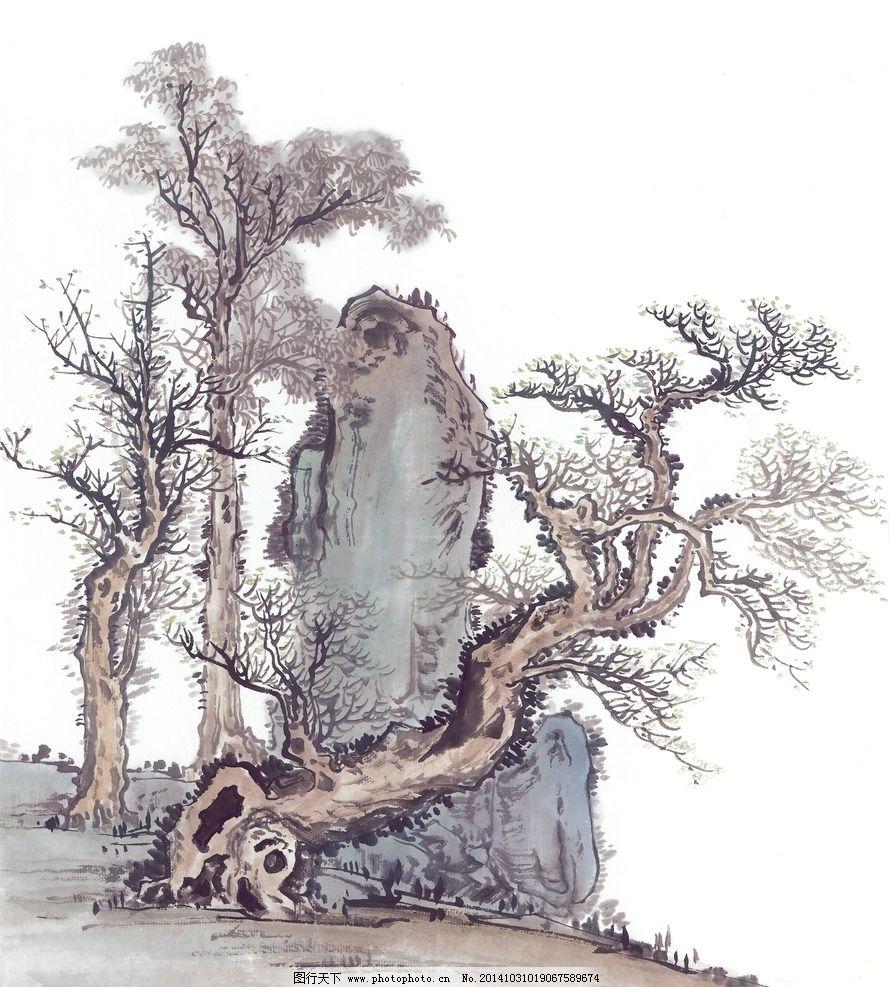 古树 国画树木 中国画 国画写生 国画艺术 书画 水墨画 装饰画 树木