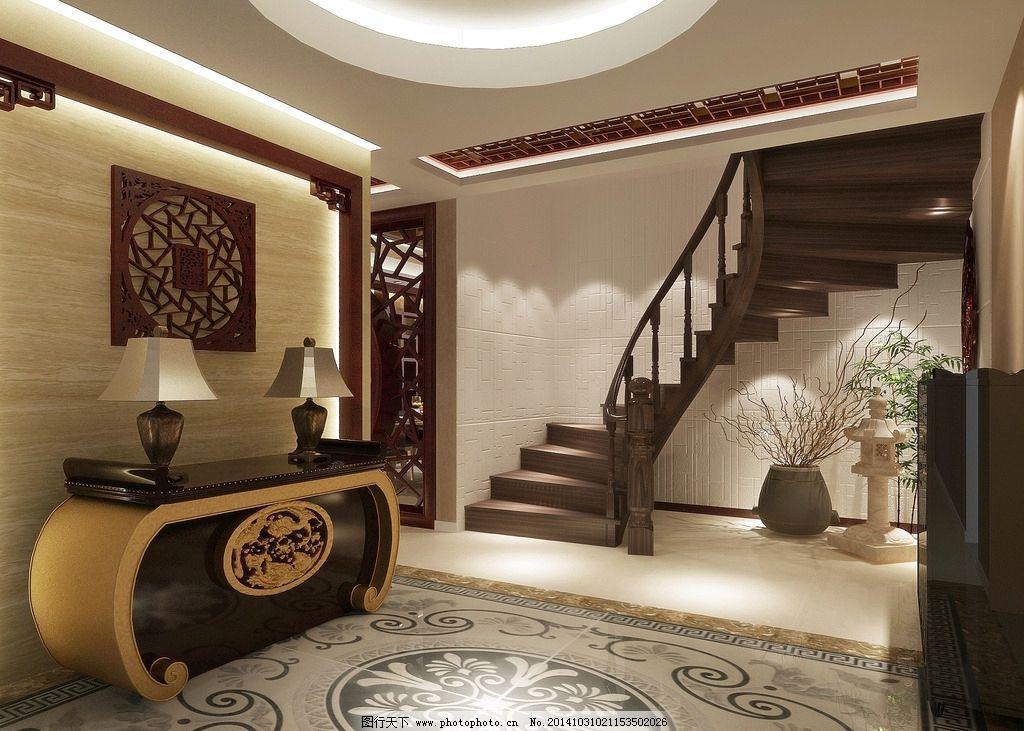 室内设计 现代 中式风格 渲染效果图 玄关