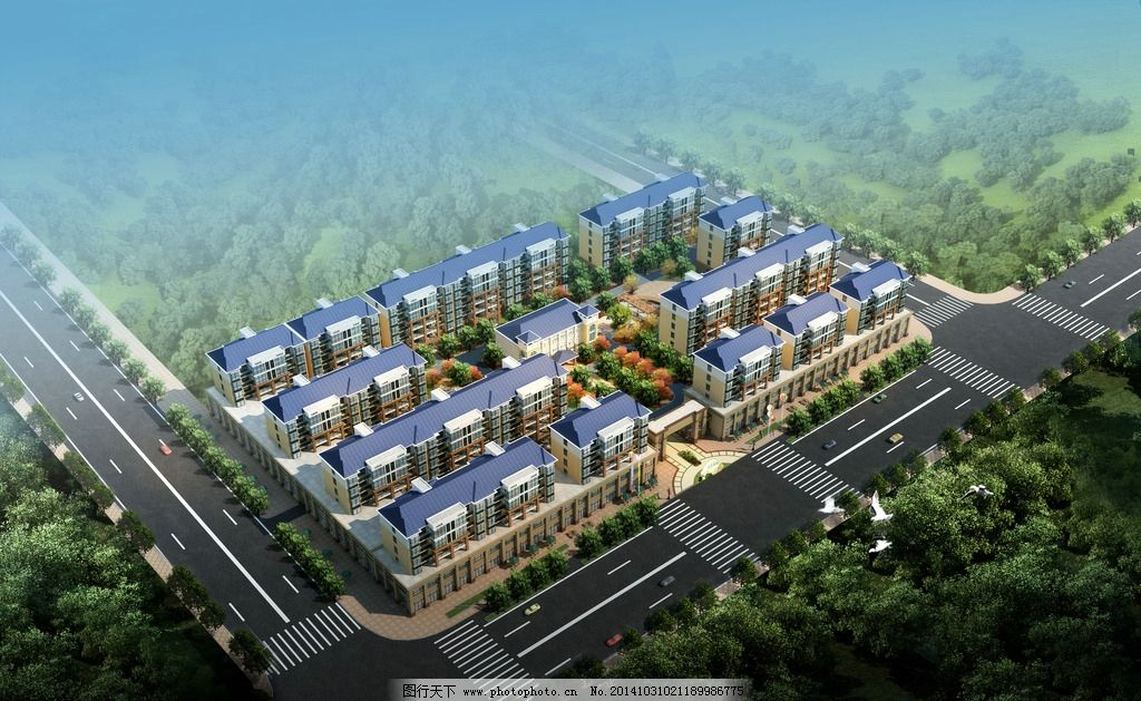 小区 景观 鸟瞰 规划 建筑表现  设计 3d设计 3d作品 300dpi jpg