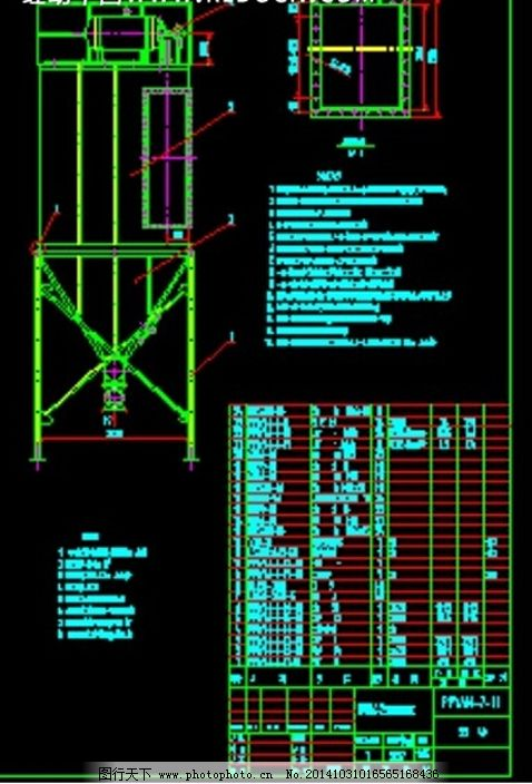 气箱脉冲袋式除尘器_cad结构图纸_cad素材_图行天下