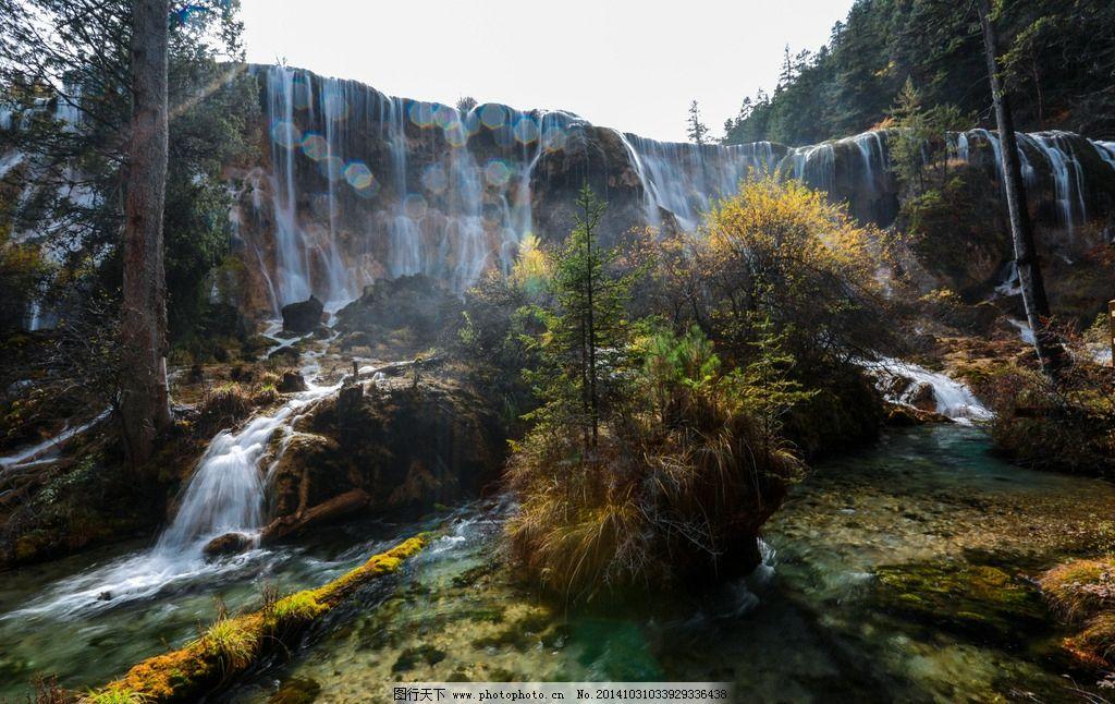 九寨沟 珍珠滩瀑布 四川 山水 风景名胜 山水风景 国内旅游