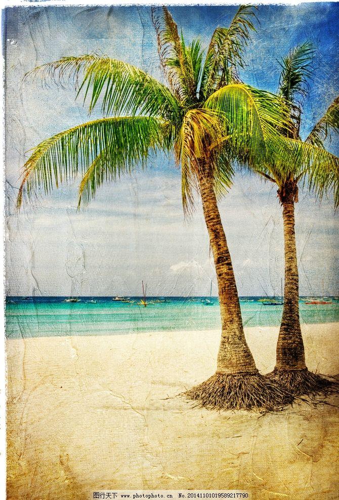 椰子树 海边风景 沙滩 风景油画 设计 复古艺术 设计 文化艺术 其他