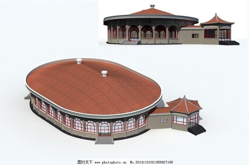 古代造型会场会所建筑3d模型