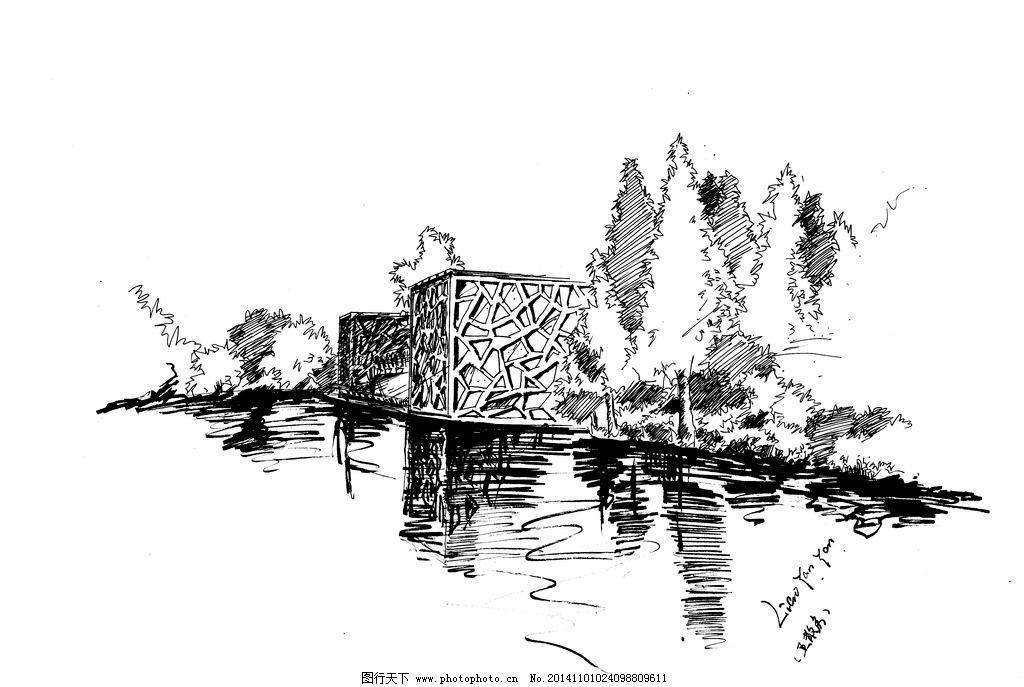 五散房 手绘 效果 线稿 宁波 设计 自然景观 人文景观 300dpi jpg