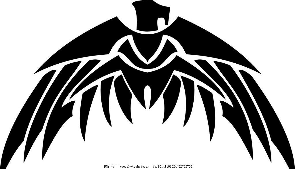 部落图腾 鹰 平面图案 鸟类 飞鹰 设计素材 设计 生物世界 野生动物
