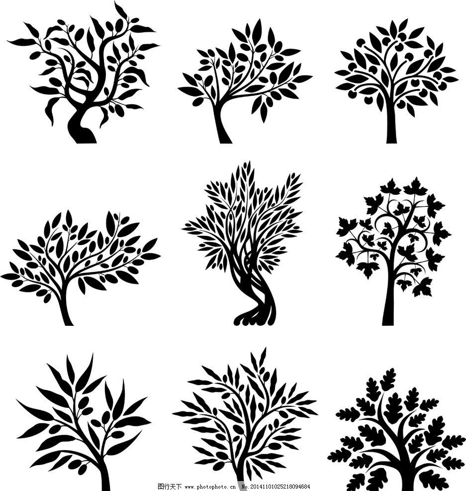 树木剪影 树木轮廓 树叶 手绘树木 树木贴图 植物 园林 树木插图 生物