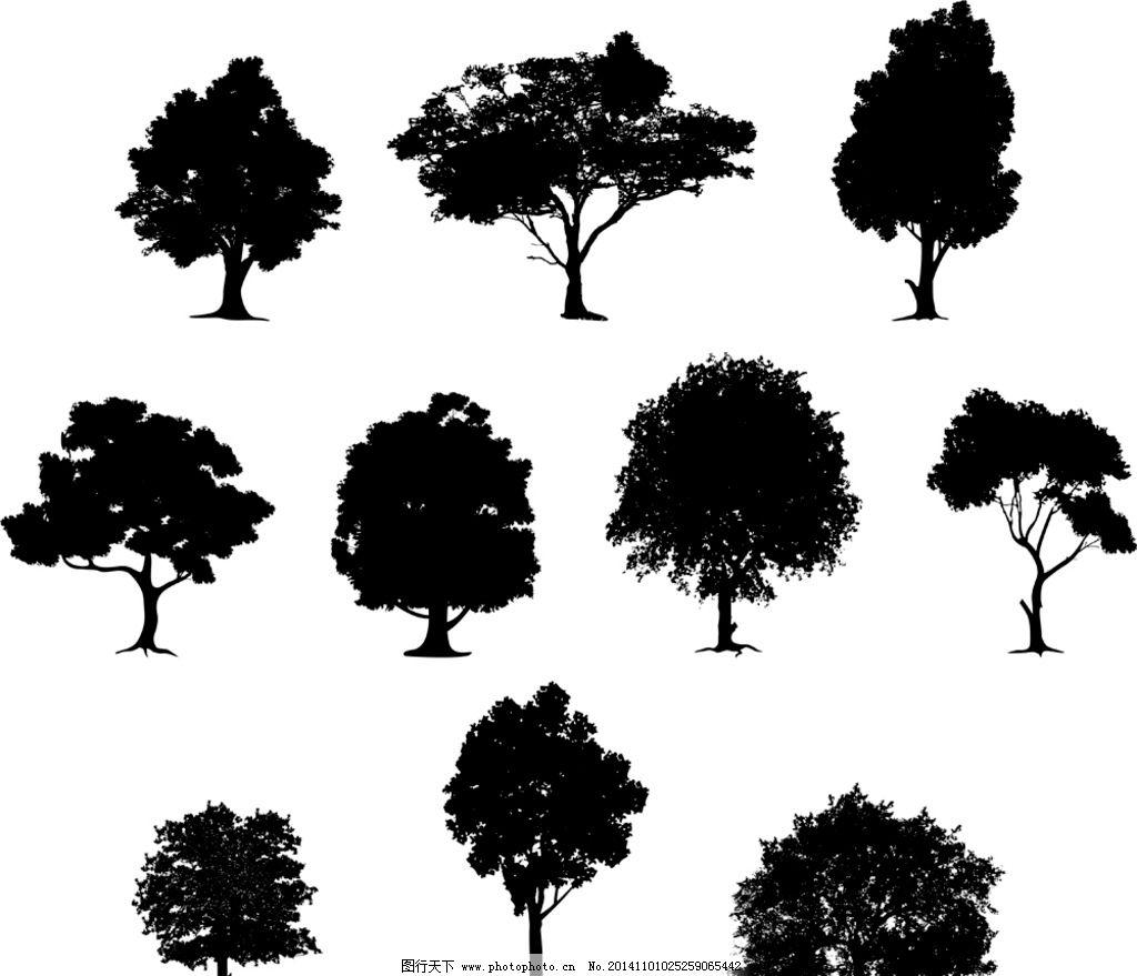 树木剪影 树木轮廓 树叶 手绘树木 自然 树木贴图 植物 园林